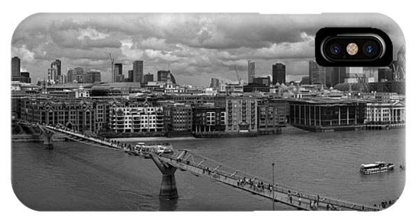 St Paul's And The City Panorama Bw IPhone Case