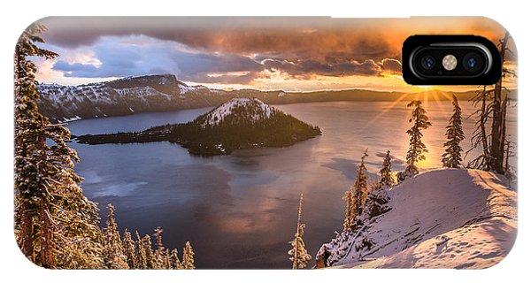 Starburst Sunrise At Crater Lake IPhone Case