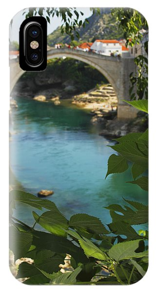 Mostar iPhone Case - Stari Most Or Old Town Bridge Over The by Trish Punch