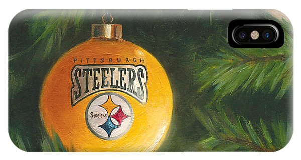 IPhone Case featuring the painting Steelers Ornament by Joe Winkler