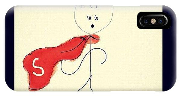 Superhero iPhone Case - #stickman #superman #art #drawing by Malika Shrestha