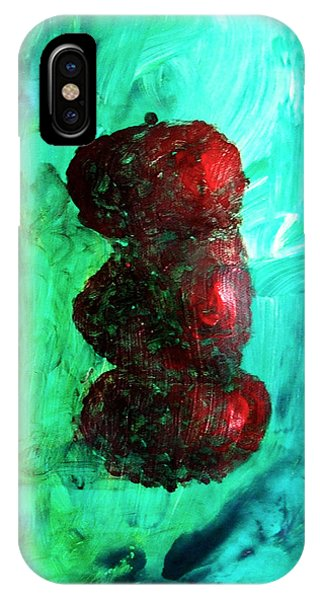 Still Life Red Apples Stacked On Green Table And Wall Fruit Is About To Topple Smush Impressionistic IPhone Case
