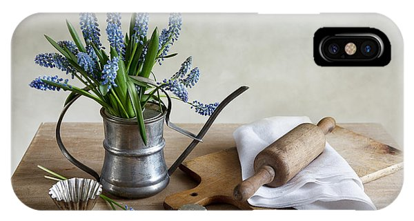 Metal iPhone Case - Still Life With Grape Hyacinths by Nailia Schwarz
