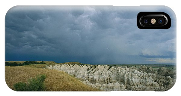 North Dakota Badlands iPhone Case - Storm Clouds Gather Over The Southern by Annie Griffiths
