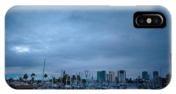 Stormy Skies Over Boat Harbor At Night, Honolulu, Hawaii Phone Case by Inti St. Clair