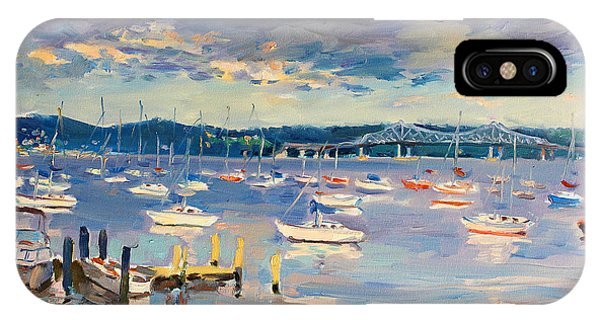 Hudson River iPhone Case - Sun And Clouds In Hudson by Ylli Haruni