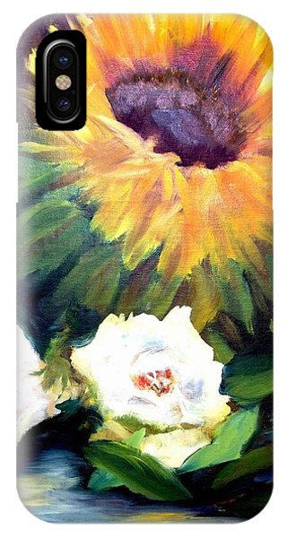 Sunflower And White Roses IPhone Case