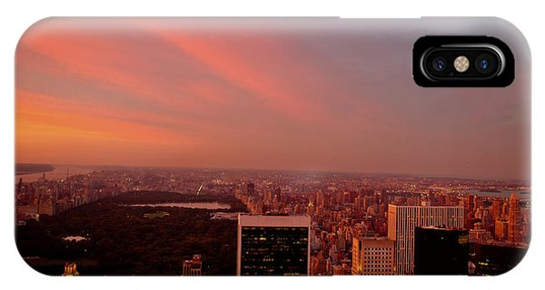 City Sunset iPhone Case - Sunset Over Central Park And The New York City Skyline by Vivienne Gucwa
