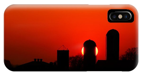 Fire Ball iPhone Case - Sunset Silo by Cale Best