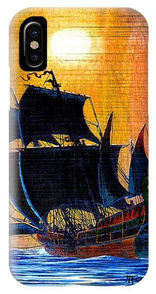 Sunship Galleon On Wood IPhone Case
