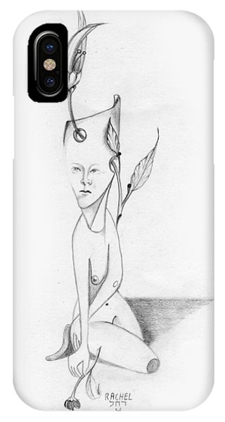 Surreal Woman With Plant And Flower Growing Through Her IPhone Case
