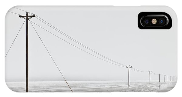 Telephone Poles In Bleak Winter Landscape Phone Case by Dave & Les Jacobs