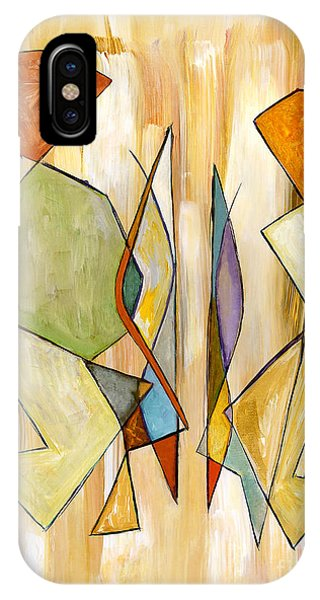 Modern Art Beige Orange Green Abstract Color Blocks Barcelonian Couple Phone Case by Marie Christine Belkadi
