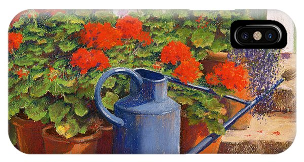 Garden iPhone X Case - The Blue Watering Can by Anthony Rule