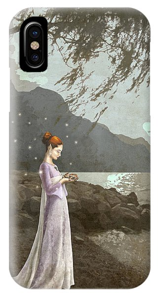 The Lady And The Kitty Antiqued IPhone Case
