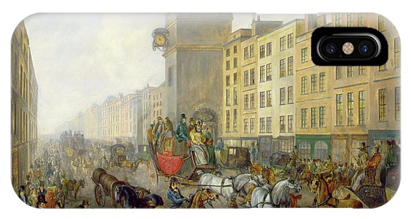 Clock iPhone Case - The London Bridge Coach At Cheapside by William de Long Turner