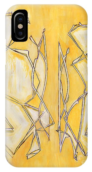 Unique Abstract Art Giclee Canvas Print Original Painting The Couple Decorator Line Art Yellow White Phone Case by Marie Christine Belkadi