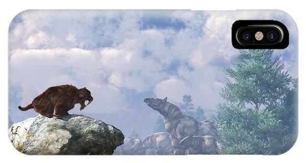 Rhinocerus iPhone Case - The Paraceratherium Migration by Daniel Eskridge
