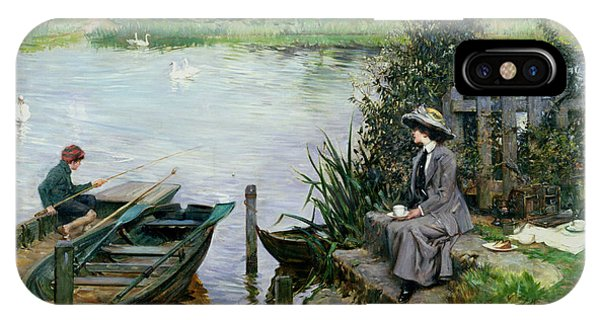 1862 iPhone Case - The Thames At Benson by Albert Chevallier Tayler