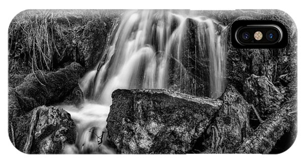 The Upper Butler Fork Falls Bw Phone Case by Mitch Johanson