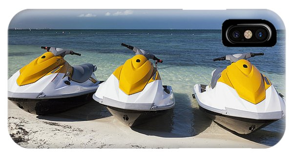 Jet Ski iPhone Case - Three Jet Skis On The Beach At Cancun by Bryan Mullennix