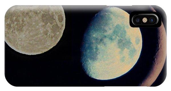 Half Moon iPhone Case - Three Moon by Marianna Mills