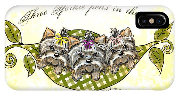 Three Yorkie Peas In The Pod IPhone Case