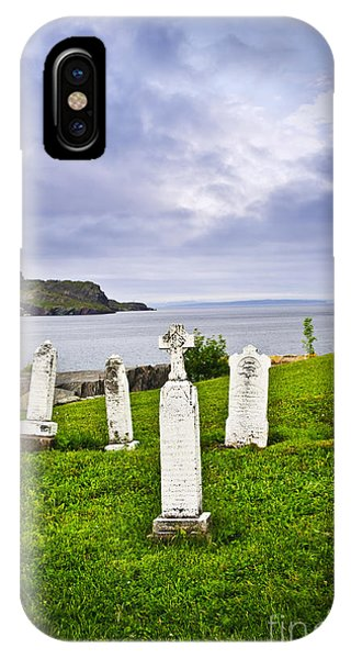 Tombstones Near Atlantic Coast In Newfoundland IPhone Case