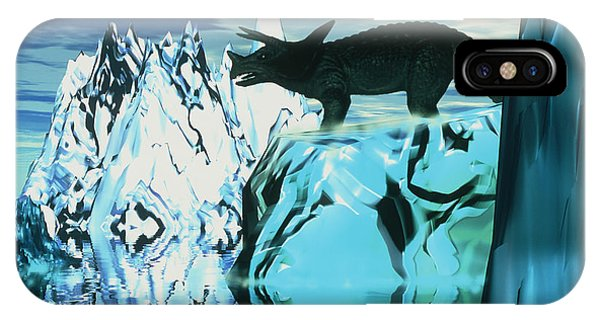 Torosaurus Dinosaur In An Icy Landscape Phone Case by Victor Habbick Visions