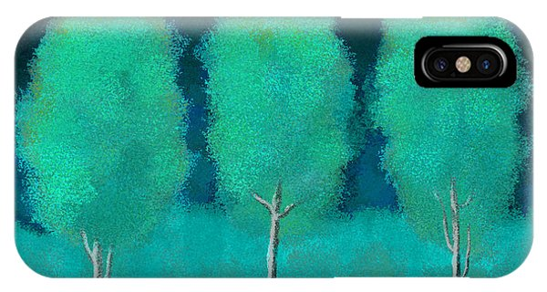 Trees In Triplicate Moonlit Winter IPhone Case