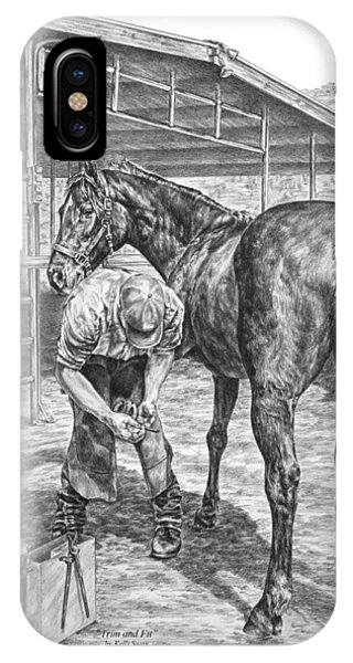 Trim And Fit - Farrier With Horse Art Print IPhone Case