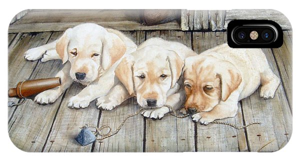 Tuckered Out Trio  Sold  Prints Available IPhone Case