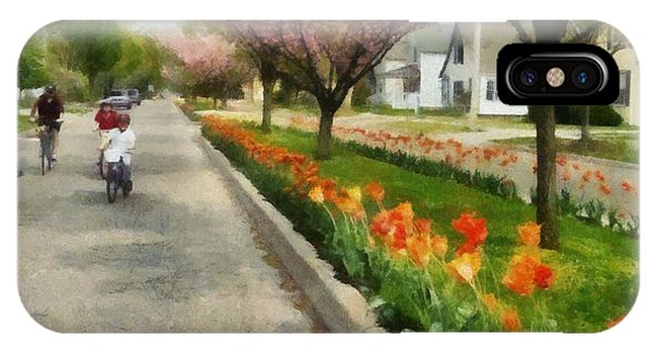 Tulips On The Boulevard Holland Michigan IPhone Case
