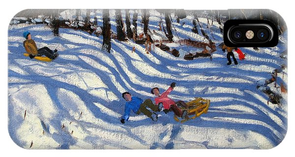 Accident iPhone Case - Two Boys Falling Off A Sledge by Andrew Macara