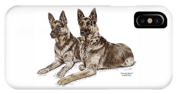 Two Of A Kind - German Shepherd Dogs Print Color Tinted IPhone Case