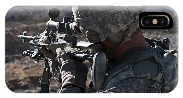Sharpshooter iPhone Case - U.s. Army Sniper Scans A Village by Stocktrek Images