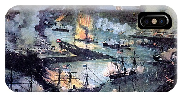 Battery D iPhone Case - U.s. Navy Destroys Rebel Gunboats by Photo Researchers