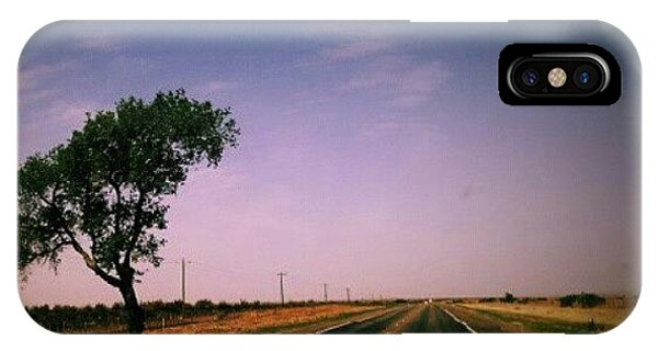 #usa #america #road #tree #sky IPhone Case