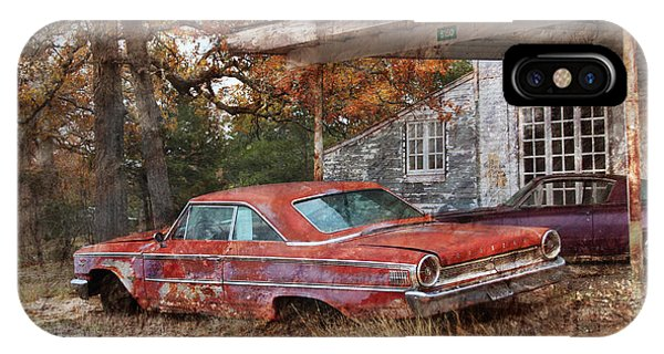 Digital Effect iPhone Case - Vintage 1950 1960 Ford Galaxy Red Car Photo by Svetlana Novikova