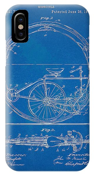 Novelty iPhone Case - Vintage Monocycle Patent Artwork 1894 by Nikki Marie Smith