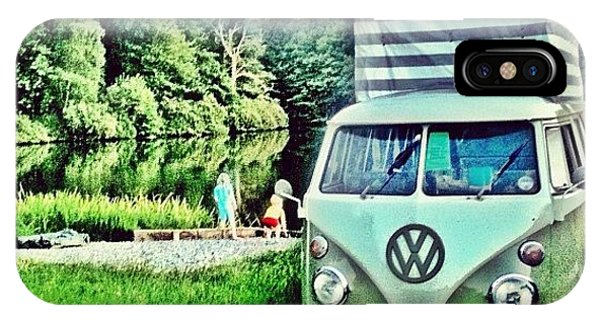 Vw Bus iPhone Case - #vw That's Camping by Doc Ward