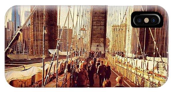 London Bridge iPhone Case - Walking Across The Brooklyn Bridge In by Trey Rucker