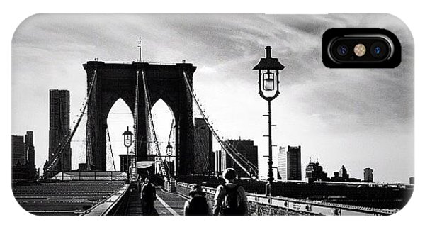 Walking Over The Brooklyn Bridge - New York City IPhone Case
