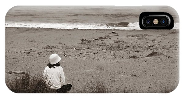 Watching The Ocean In Black And White IPhone Case