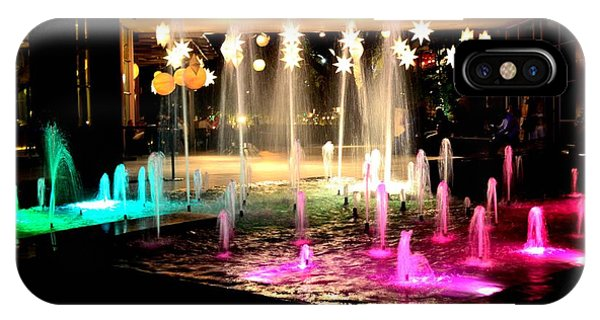 Water Fountain With Stars And Blue Green With Pink Lights IPhone Case