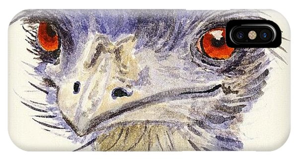 Quirky iPhone Case - Watercolour Sketch Of Emu by Ruca Cao