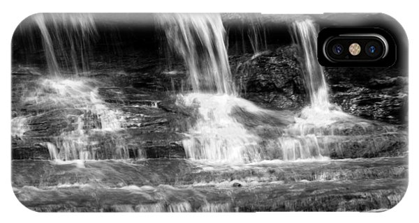 Waterfall Trio At Mcconnells Mill State Park In Black And White IPhone Case