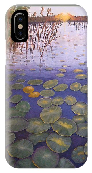 IPhone Case featuring the painting Waterlillies South Africa by Karen Zuk Rosenblatt
