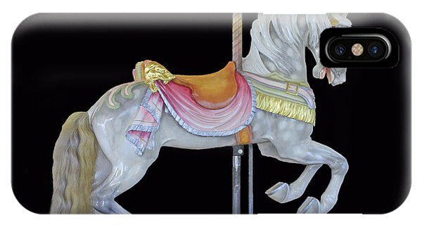 White Dappled Carousel Horse IPhone Case