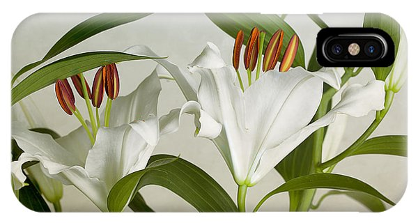 Lily iPhone Case - White Lilies by Nailia Schwarz